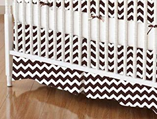 product image for SheetWorld 100% Cotton Percale Crib Skirt 28 x 52, Brown Chevron Zigzag, Made in USA