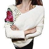 New half price!Women Autumn Winter Pullovers Roses Hook Flowers Hollow Sweater Tops Blouse Muranba (Beige)