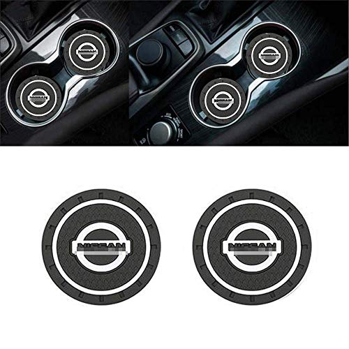 ZOORG 2 pcs Set 2.75 Inch Diameter Car Cup Holder Coasters,Oval Tough Car Logo Vehicle Travel Auto Cup Logo Heavy Duty Rubber Coaster (N-is-san)