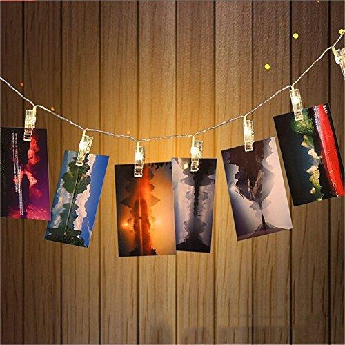 ZUOAO LED Clip Photos Guirlandes, 30 Clips Photos, 3M 30LED,Blanc Chaud, Chaîne de Lumière pour Accrocher des Photos, Notes, Créations, Photo-Clip Light Alimenté par Batterie(Non inlus)