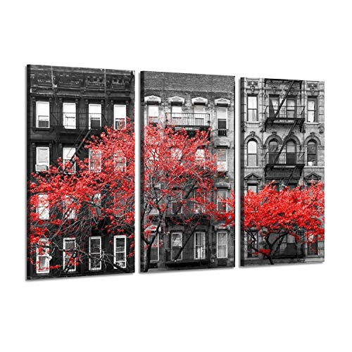 "NYC Red Tree Wall Art: Vintage New York City Street Pictures Print on Canvas for Living Room (26"" x 16"" x 3 Panels)"