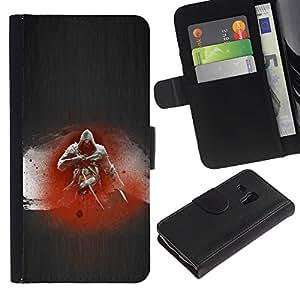 LECELL--Cuero de la tarjeta la carpeta del tirón Smartphone Slots Protección Holder For Samsung Galaxy S3 MINI 8190 -- Asesino --