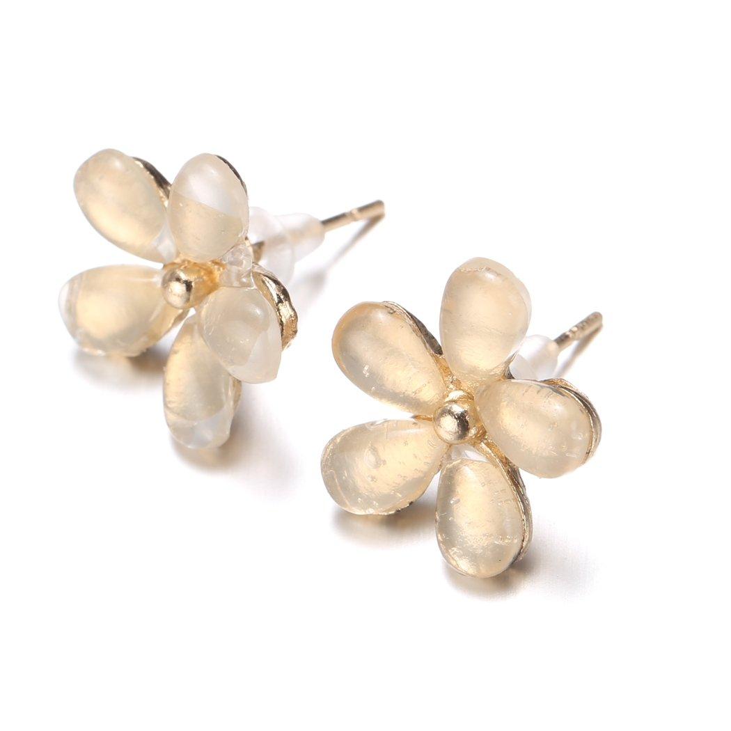 Fashion Elegant Women Silver Plated Flower Crystal Rhinestone Ear Stud Earrings