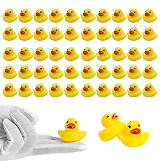 LOUHUA 50Pcs Mini Rubber Ducky Baby Bath Toy Shower Birthday Party Favors Gift