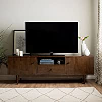 Mid-Century Modern TV Stand Provides Retro Style And Contemporary Functionality. 72-Inch Entertainment Center With Open Shelf, Drawer, And Two Cupboards. Media Cabinet Console Creates Timeless Feel.