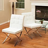 Christopher Knight Home Milania White Leather Dining Chairs (Set of 2)