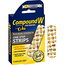 Compound W Salicylic Acid Wart Remover for Kids | Maximum Strength One Step Strips | 10 Medicated Strips