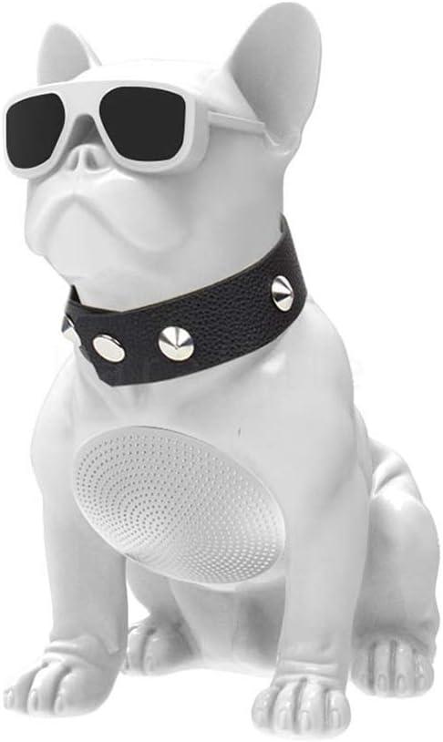 altavoz inalámbrico, con Bluetooth , compatible con Tarjeta SD y  Pendrive, tiene radio FM perro bulldog