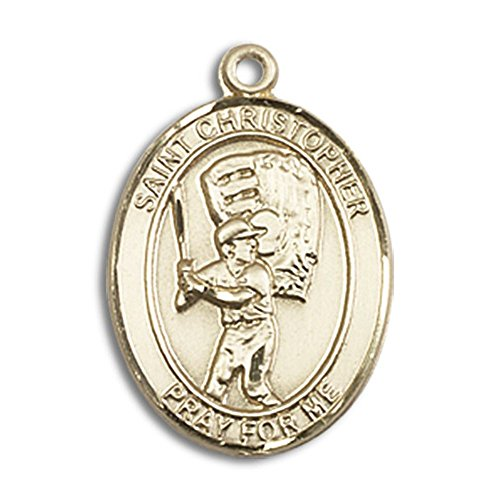 Bonyak Jewelry 14kt Yellow Gold St. Christopher/Baseball Medal 3/4 x 1/2 inches