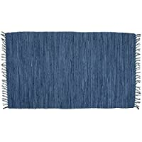 Bristol Blue Hand Woven Rag Throw Rug, 30 x 50, 100% Cotton Tightly Woven T.