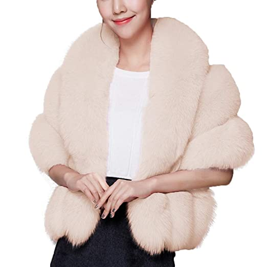 cbe0b601e30 Caracilia Women Luxury Faux Fur Coat Jackets Wrap Cape Shawl for Wedding  Party