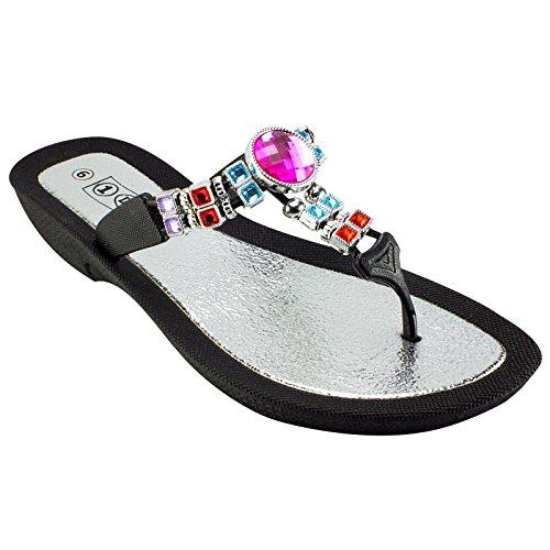 1 Docks Femmes Multi Couleur Perlée String Sandale Noir Taille 8