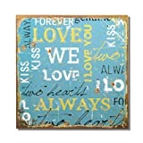 Adeco Decorative Wood Wall Hanging Sign Plaque ''Love'' Word Collage, Light Blue Yellow Home Decor