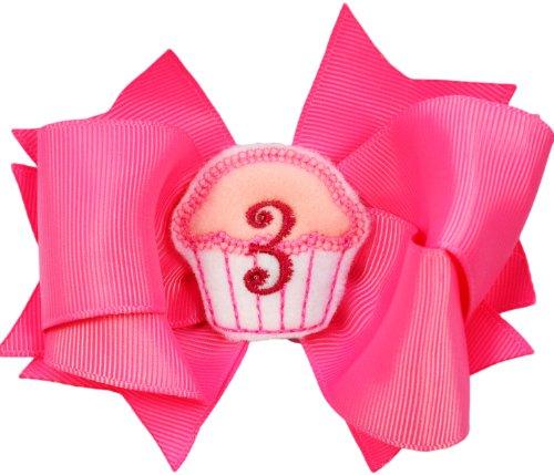 Happy Birthday Monogrammed Cupcake Hair Bow w/ Added Crochet Headband (Year 3)