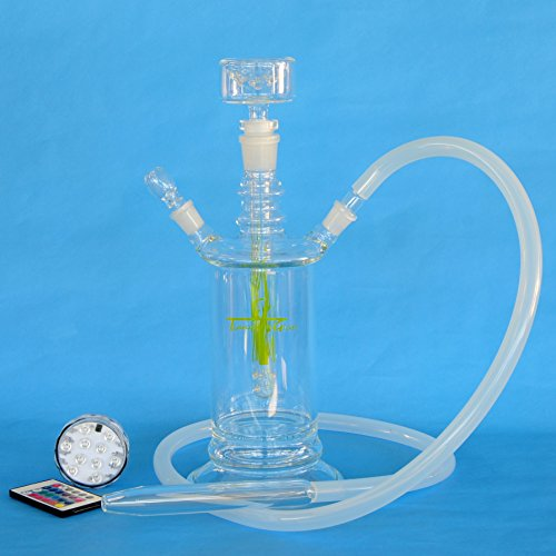 Tianyuan Glass All Glass Hookah Shisha 14'' with 4 Colors LED Light Base and Travel Code Case, Light Green (TY-HK15-CH) by Tianyuan (Image #5)