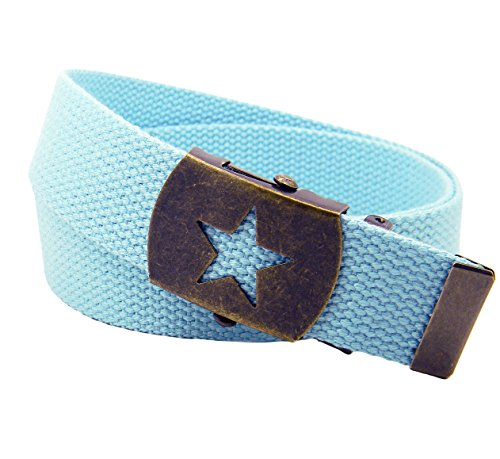 Women's Antique Brass Star Slider Military Belt Buckle with Canvas Web Belt Small Pastel Blue