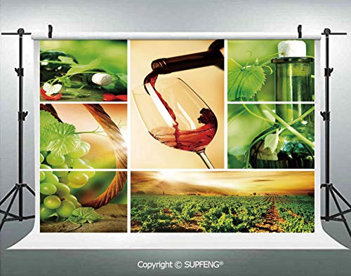 Photography Background Wine Tasting and Grapevine Collage Green Fresh Field Pouring Drink Delicious Decorative 3D Backdrops for Photography Backdrop Photo Background Studio -