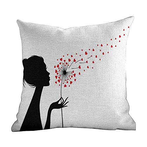 Matt Flowe Zippered Cushion Pillow Covers,Dandelion,Woman Silhouette with Dandelion Heart Seeds Flying Valentines Day,Vermilion Black White,Sofa Cushion for Leaning on22 x22