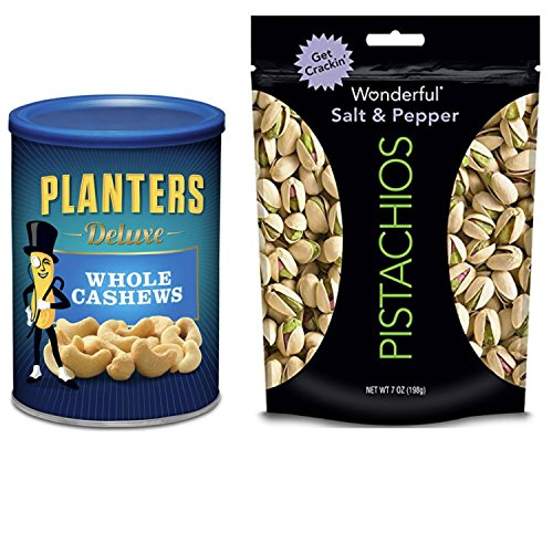 Planters Whole Cashews and Wonderful Pistachios, Salt and Pepper. Convenient One-Stop Shopping For Whole Cashews and Pistachios. Easy to Source These Popular Products With 1 Click. Snacking Heaven! (Gift Baskets Omaha)