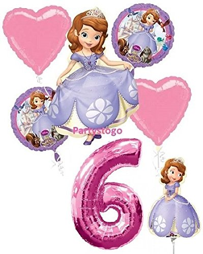 DISNEY PRINCESS SOFIA THE FIRST 6TH BIRTHDAY PARTY BALLOONS DECORATIONS WITH 16