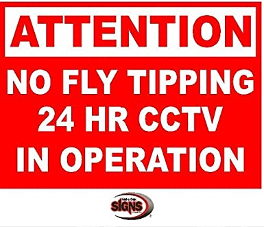 ATTENTION NO FLY TIPPING CCTV IN OPERATION sign Multiple Size & Material Options Available (Option 1 297x210x3mm PVC) Shire Oak Signs and Graphics