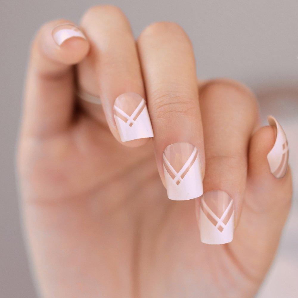 Uñas Postizas Bling Art Blanco líneas 24 Squoval Medio Falsas puntas acrílicas con pegamento: Amazon.es: Belleza