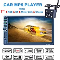 LSLYA (TM) 7inch HD bluetooth MP5 player TFT touch screen FM AM RDS Radio car video USB TF Aux Input Color screen Car Stereo AUX-in + Subwoofer Steering wheel controls+Remote Control+Rear View Camera