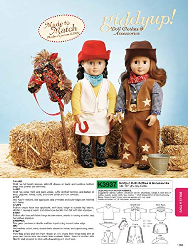 Kwik Sew K3937 Giddyup Doll Clothes and Accessories Sewing Pattern, Size 18-Inch Doll (Doll Patterns Sew)
