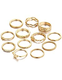 Retro Gold Knuckle Stackable Ring Set 12 Pcs Metal Fingers Rings Set for Women