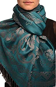 Large Paisley & Roses On Cerulean Blue Pashmina Feel With Tassels - Scarf