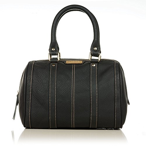 Aretha 141011-BL Round Pillow Genuine Cow Leather Top Handle Bag Black