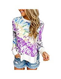 CTMY Women's Tie Dye Printing Gradient Color Loose Shirt Blouse Casual Long Sleeve Round Neck Top Sweatshirt Pullover