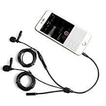 MAONO Lavalier Microphone with Secondary Lavalier Mic Headphone Splitter Output Clip-on Interview Lapel Mic for iPhone, Samsung, Android, Smartphones, iPad, Tablets