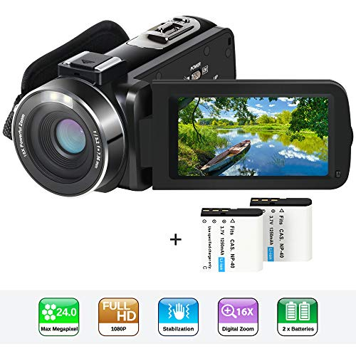 Video Camera Camcorder,Actinow YouTube Vlogging Camera HD 1080P 24.0MP 3.0 Inch LCD 270 Degrees Rotatable Screen 16X Digital Zoom Camera Recorder with 2 Batteries