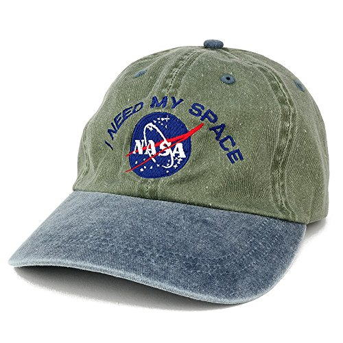 - NASA I Need My Space Embroidered Washed Cotton Cap - (One Size, Olive Navy)