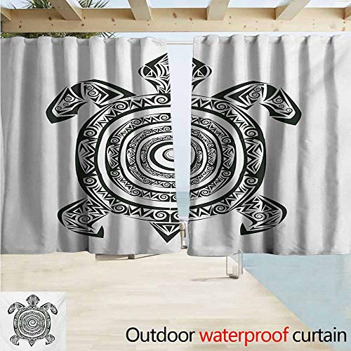 Lcxzjgk Turtle Window Blind Maori Tattoo Style Figure of Sea Animal Tribal Spiral Form Ancient Tropical for Patio/Front Porch W63 xL72 Black and White