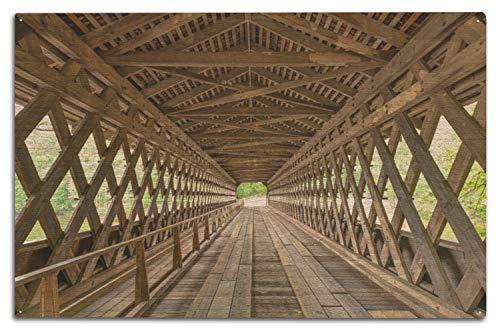 Lantern Press Atlanta, Georgia - Covered Bridge Interior - Photography A-92537 (10x15 Wood Wall Sign, Wall Decor Ready to Hang) -