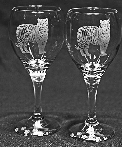 Bengal Tiger Cat Laser Etched Wine Glass Set (2, TDW)