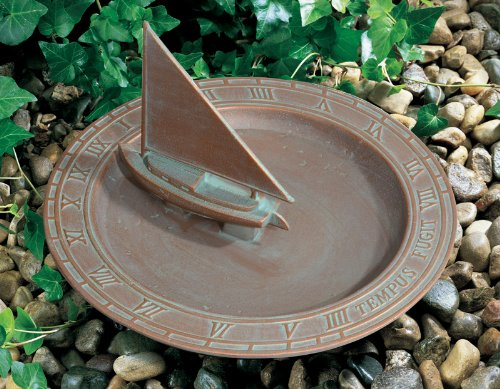 Whitehall Products Sailboat Sundial Birdbath, Copper Verdi