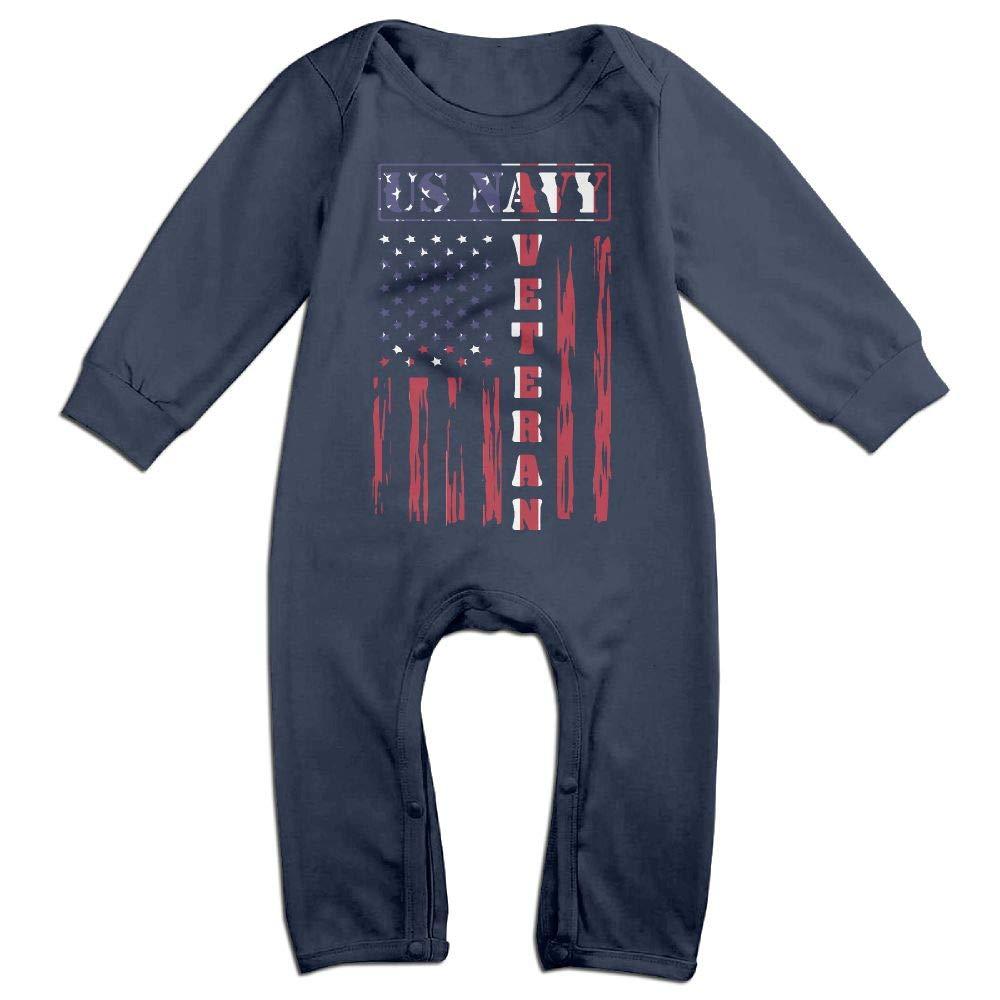 Mri-le1 Toddler Baby Boy Girl Long Sleeve Jumpsuit US Navy Veteran Distressed American Flag Baby Rompers