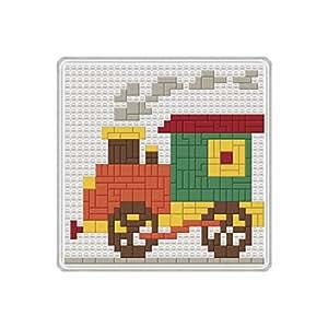 Rayher 7550200ranuras mosaico-Locomotora de 14x 14cm, unidades). 1placa, 264piedras, 1Herramientas