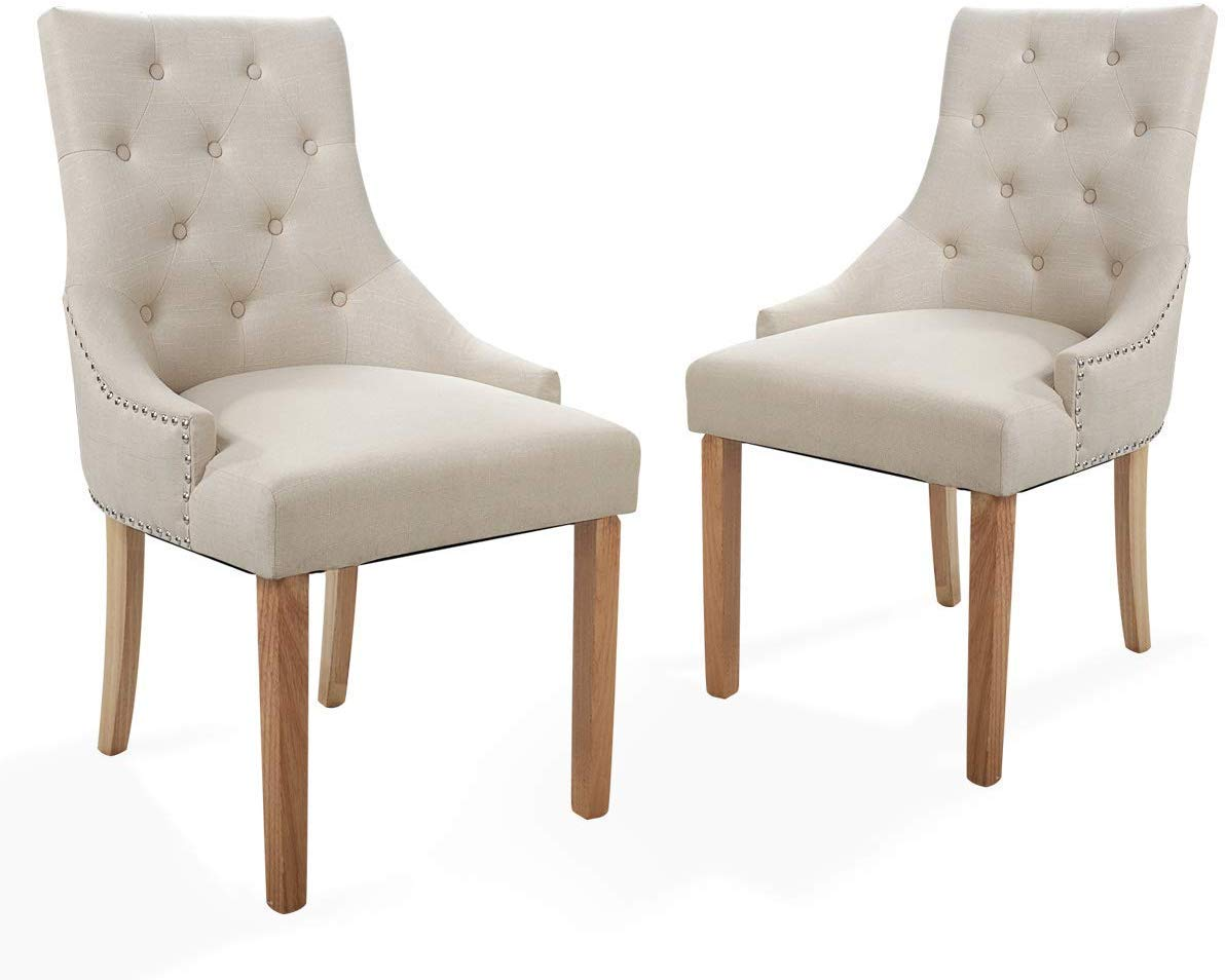 Sandinrayli Beige Tufted Pattern Solid Wood Wingback Accent Dining Hostess Chairs with Nail Heads, Set of 2
