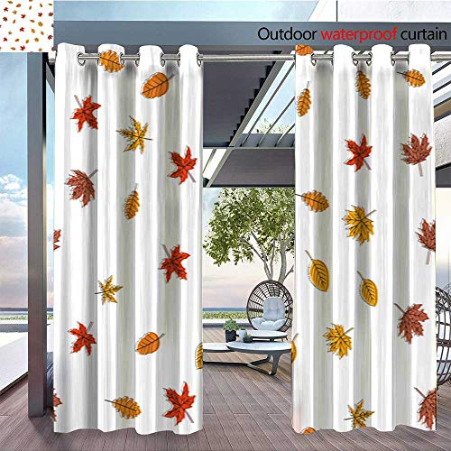 Standing Outdoor Privacy Curtain Seamless-pattern-with-autumn-leaves-Thanksgiving-day-Vector-14.jpg for Front Porch Covered Patio Gazebo Dock Beach Home W96 x L84(245cm x 214cm) ()