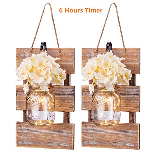 Chen Rustic Wall Sconces- Mason Jar Sconces Handmade Wall Art Hanging Design with 6 Hours Timer LED Fairy Lights and Warm White,Farmhouse Kitchen Wall Home Decor Living Room Lights Set of 2 Brown