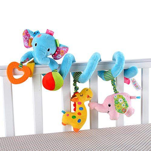 Guurachi Multi-function Bedroom Decoration Infant Baby Activity Spiral Bed & Stroller Toy & Travel Activity Toy (Blue Elephant)