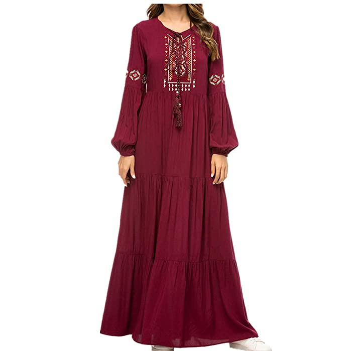 zhruiqun Abaya Donna Islamico Abiti Musulmani - Caftan Dubai Jalabiya Vestiti  Maxi Dress (XL) 6406c03ba2e