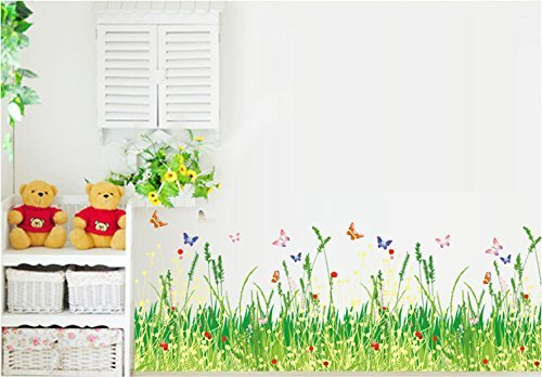 BestGrew® Pastoral Style Grass and Butterflies Wall Decals, Living Room Bedroom Baseboard Removable Wall Stickers ()