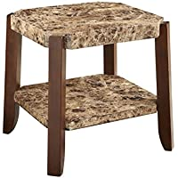ACME Furniture 82126 Dacia End Table, Faux Marble & Brown