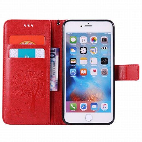 Yiizy Apple IPhone 6 Plus (IPhone 6s Plus) Hülle, Baum-Muster Entwurf PU Ledertasche Klappe Beutel Tasche Leder Haut Schale Skin Schutzhülle Cover Case Stehen Kartenhalter Stil Bumper Schutz (Rote)