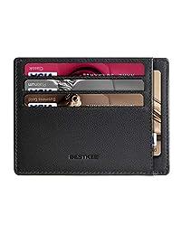 Slim Minimalist Leather Wallet RIFD Front Pocket Wallet Credit Card Holder for Men & Women